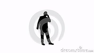 一个人的英尺长度剪影有电话的 股票视频