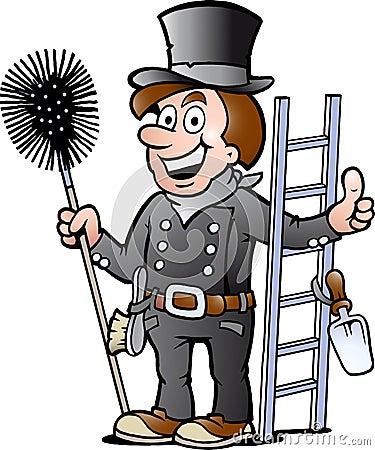 一个愉快的扫烟囱的人的例证