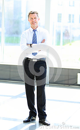 一个成熟的商业人的全长画象用手