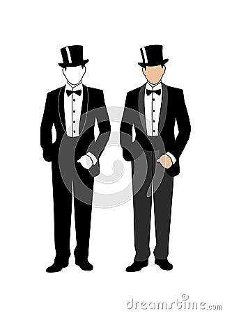 一个绅士的剪影无尾礼服的