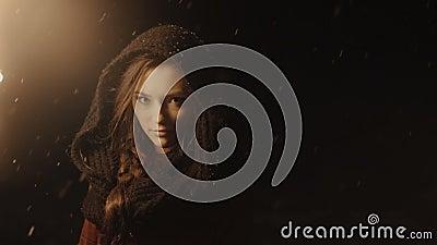 一名年轻神秘的妇女的画象在拿着火炬的黑暗的森林里