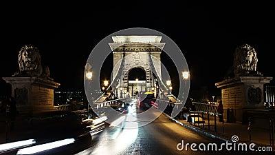 一座桥梁的定期膝部在布达佩斯在晚上 股票录像
