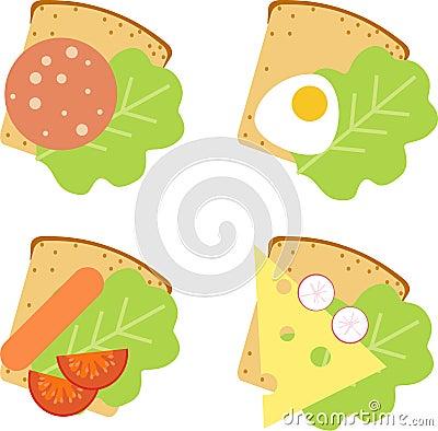 三明治用香肠,莴苣和橄榄在切板.图片