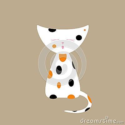 三色猫_在米黄背景的逗人喜爱的三色猫叫的小猫 商标模板,设计元素 平的样式