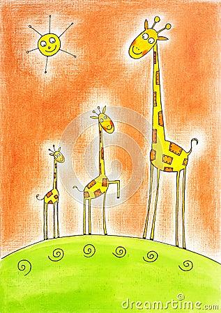 三头愉快的长颈鹿,儿童的图画,在画布纸张的水彩绘画.