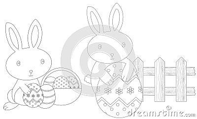 上色复活节的兔宝宝