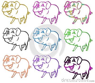 图库摄影: 上色猪符号图片