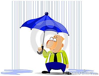 生意人动画片例证下雨伞.图片