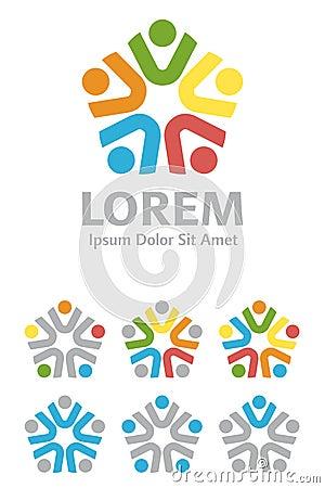 不同种族的小组商标设计元素集图片