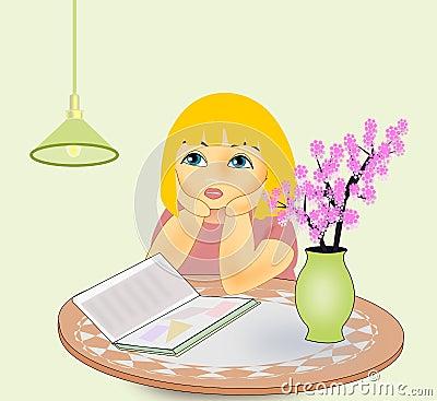 似乎是疲乏对读书的一个小女孩.图片图片