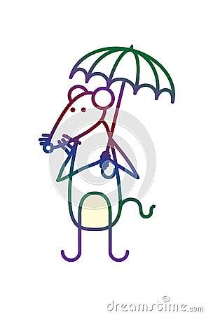 与伞的动画片鼠标图片