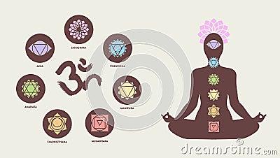 与om做瑜伽莲花的书法和身体剪影的五颜六色的chakra象集合摆在,健康