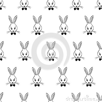 与剪影兔子面孔的无缝的样式 黑白动物背景.图片
