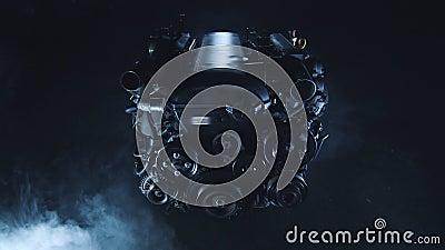 与内燃机的现代技术黑暗的背景从汽车