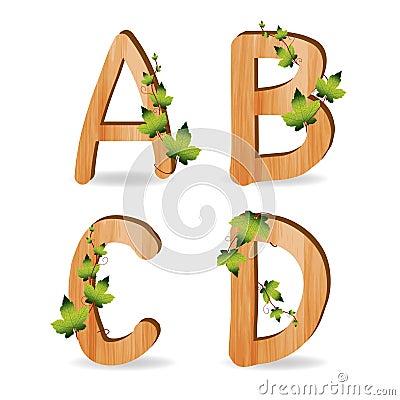 库存照片: 与分行绿色叶子的木字母表图片