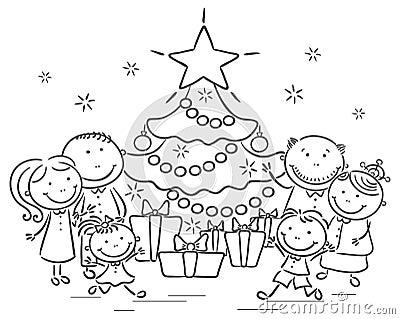 与圣诞树和礼物的家庭图片
