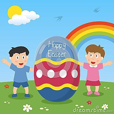 与孩子的愉快的复活节彩蛋