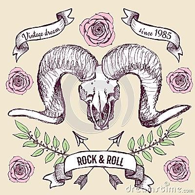 与山羊的头骨,丝带和玫瑰的海报在葡萄酒样式,传染媒介.