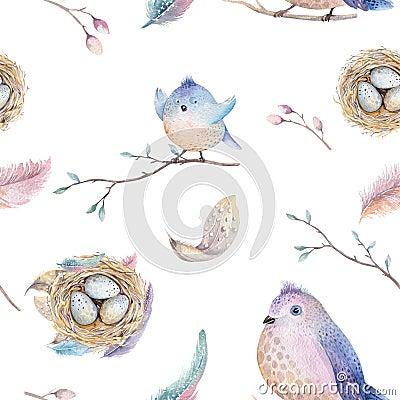 与巢,鸟,医院,树分支的枝杈春天a医院羽毛和,水彩水彩样式的手拉的无缝室内设计主要图片