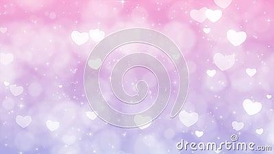与微粒、闪闪发光和心脏的紫色母亲节背景