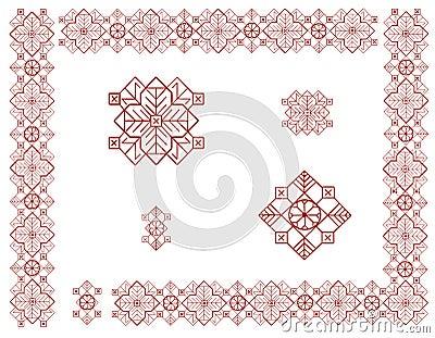 与拉脱维亚装饰品的元素的框架