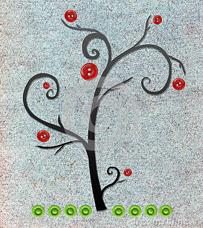 与按钮的苹果树