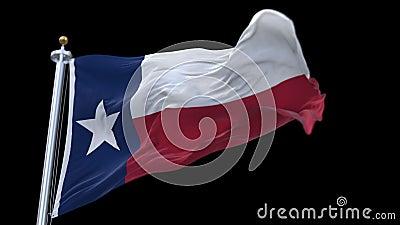 与挥动在风的旗杆的4k无缝的得克萨斯旗子 包括的阿尔法通道 股票录像