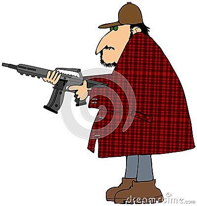 与攻击步枪的猎人