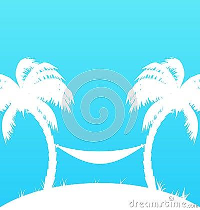 与棕榈树和吊床的热带天堂背景