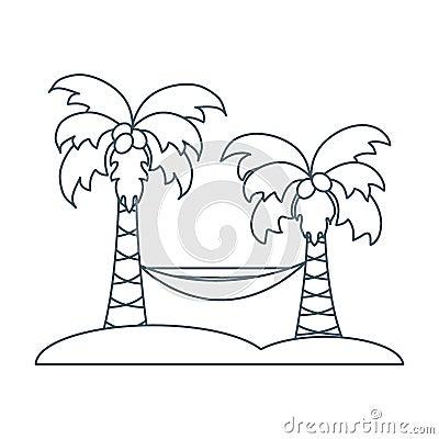 与棕榈树和吊床的逗人喜爱的传染媒介例证 旅行和图片