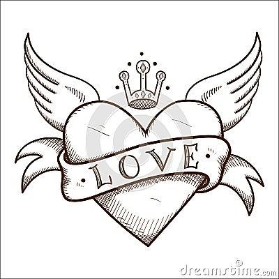 与横幅和冠的心脏.剪影浪漫设计的传染媒介元素