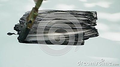 与油腻的黑油漆污迹白板的刷子 股票录像