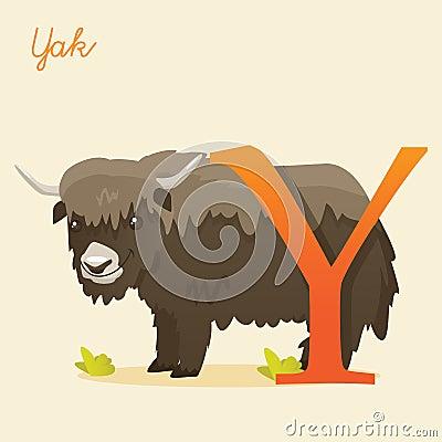 与牦牛的动物字母表