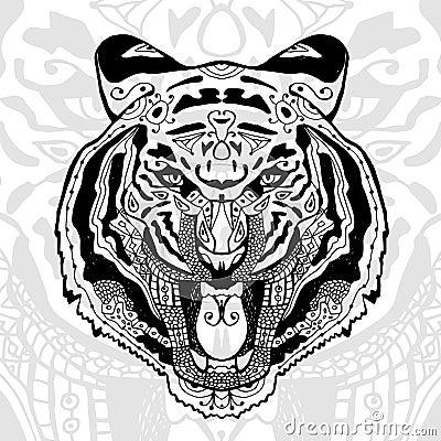 与种族zentangle样式的黑白老虎印刷品