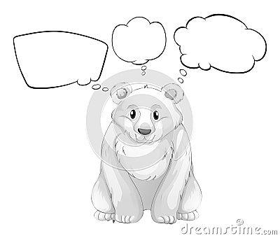 一头白色北极熊的例证与空的想法的在白色背景.图片