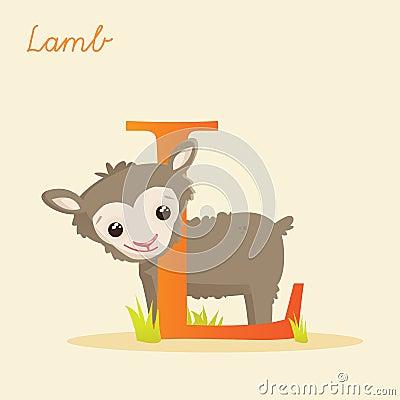 与羊羔的动物字母表