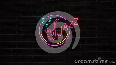 与萨克斯管的霓虹爵士乐关于砖墙的标志和笔记 股票视频