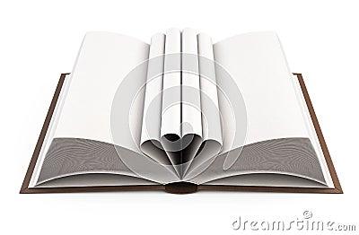 与在白色背景隔绝的被折叠的叶子的开放书 3d例证.图片