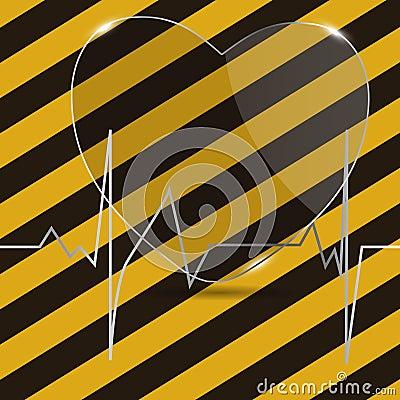与重点的心电图。 向量例证。
