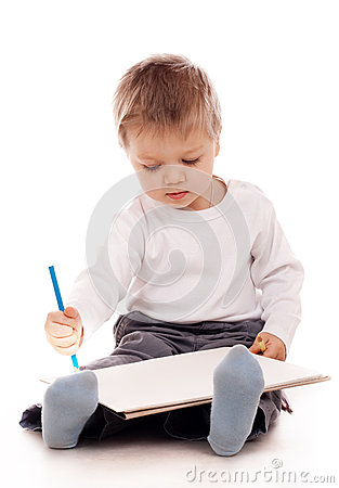 与铅笔的男孩图画