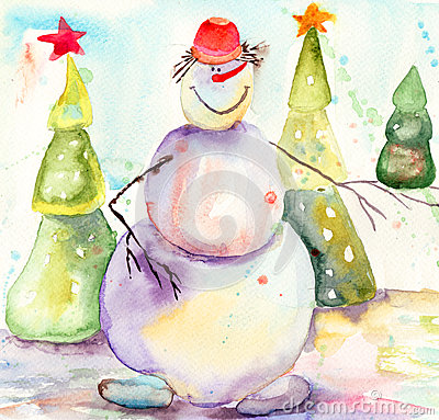 与雪人的圣诞卡
