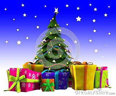 与雪的圣诞树