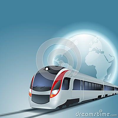 与高速火车和地球的背景图片