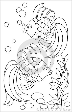 与鱼黑白图画的页上色的图片
