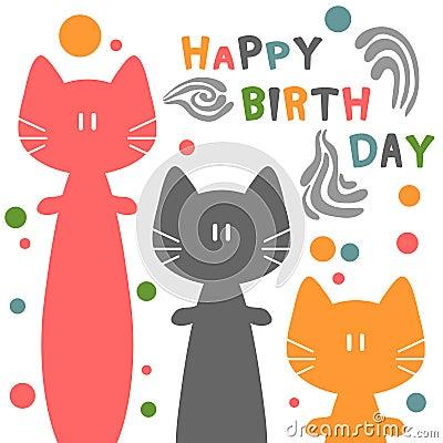 与猫的生日贺卡