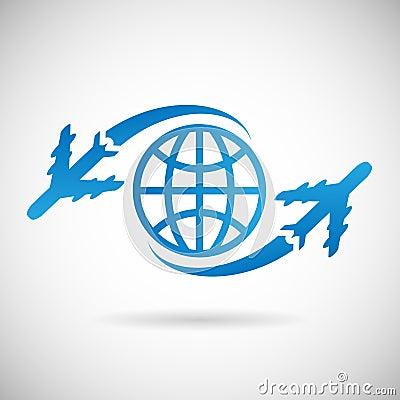 世界旅行标志飞机和地球象设计 免版税库存照片