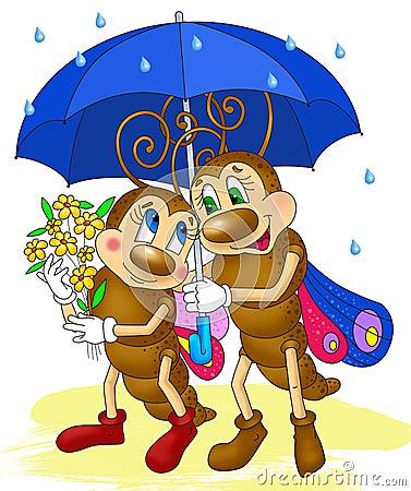 两只蝴蝶在伞下,昆虫动画片图片