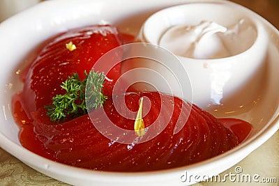 中国冷盘酒醉梨红色