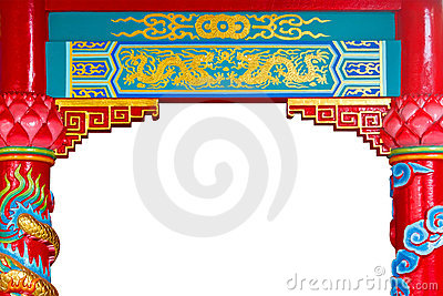 中国龙金黄绘画柱子寺庙图片