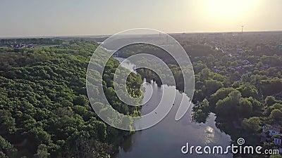 乌克兰日托米尔市特特列夫河的空中景观 股票录像